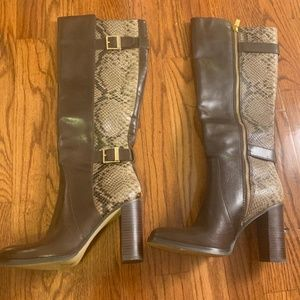 Michael Kors Snakeskin and Gold Heeled Boots - 7M